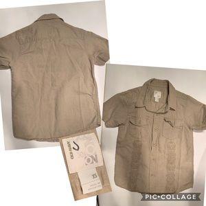 Old Navy Boys Tan Button Down SS Shirt Sz XS